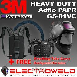 3M Speedglas Welding Kit Helmet G5-01, ADFLO PAPR, Tube Hose Cover, Backpack