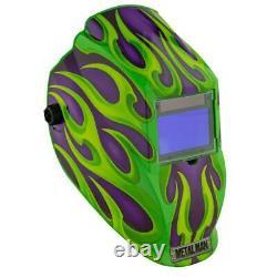 Auto Darkening Welding Helmet 9-13 Shade Solar Powered Purple Green Flame