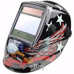 Auto Darkening Welding Helmet Biggest View Solar Power 4 Censor Hood 4X3.7EAGLE