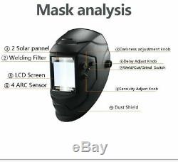 Face Mask Helmet Eara 4 Arc Sensor DIN5-DIN13 Solar Auto Darkening TIG MIG MMA W