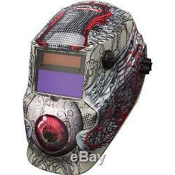 Lincoln Variable-Shade Auto-Darkening Welding Helmet- Bloodshot Eyeball Design