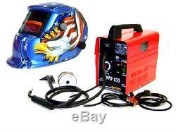 Mig 100 Flux Wire Welder Machine + Eagle Auto Darkening Helmet Welding Mask Kit