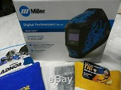 Miller 282001 Digital Performance Welding Helmet with ClearLight Lens Blue Rage