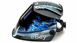 PYRAMEX WHAM3030FM AUTO DARKENING Digital Welding Hood BLUE FIRE DESIGN