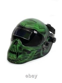 Snap On Auto-Darkening Welding Helmet Green Skull