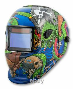 Solar Powered Auto Darkening Welding Helmet -Pirate Graphics TI-41278