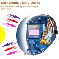Solar Powered Auto Darkening Welding Helmet with Baffles Eagle-Blue Pattern